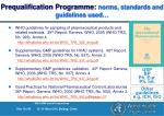 prequalification programme norms standards and guidelines used