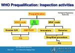 who prequalification inspection activities