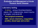 evaluation and management of acute thoracic aortic disease12
