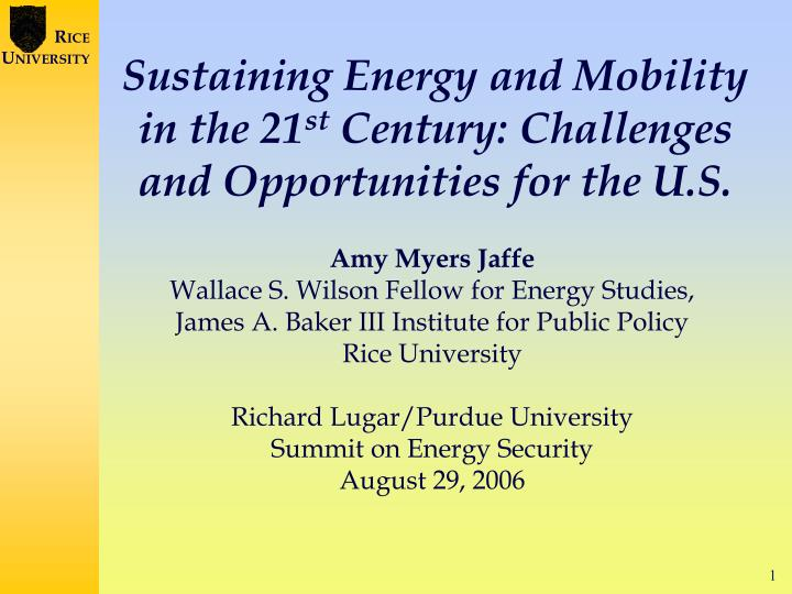 sustaining energy and mobility in the 21 st century challenges and opportunities for the u s n.