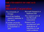 the university of chicago and microsoft corporation