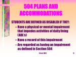 504 plans and accommodations