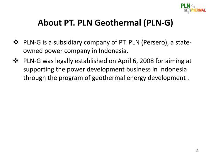 About pt pln geothermal pln g