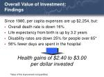 overall value of investment findings