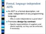 formal language independent adts