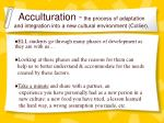 acculturation the process of adaptation and integration into a new cultural environment collier17
