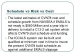 schedule vs risk vs cost