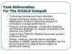 task deliverables for the iccals catapult