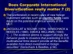 does corporate international diversification really matter 2
