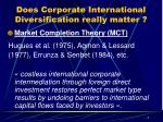 does corporate international diversification really matter
