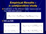 empirical results a comparative study
