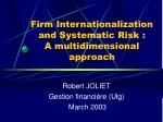 firm internationalization and systematic risk a multidimensional approach