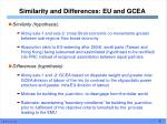 similarity and differences eu and gcea