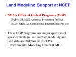 land modeling support at ncep
