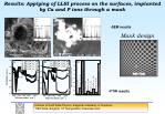 results applying of llsi process on the surfaces implanted by ca and p ions through a mask