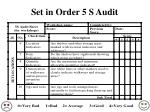 set in order 5 s audit
