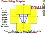 frame the left and right boundaries of each graph to help you find the possible x values the domain