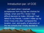 introduction par of cce
