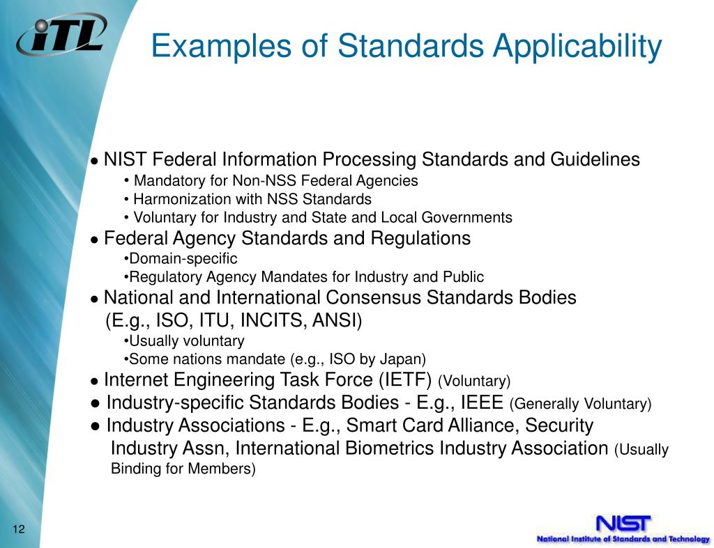 Examples of Standards Applicability