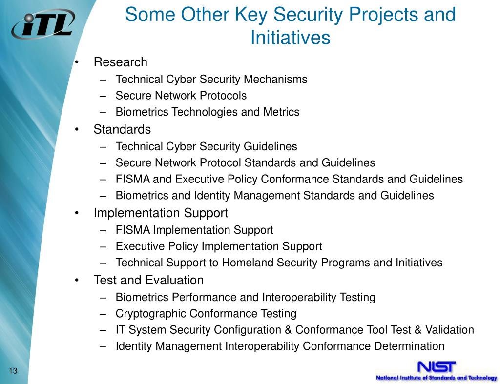 Some Other Key Security Projects and Initiatives
