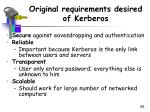 original requirements desired of kerberos