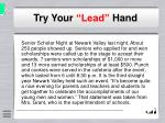 try your lead hand