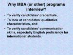 why mba or other programs interview