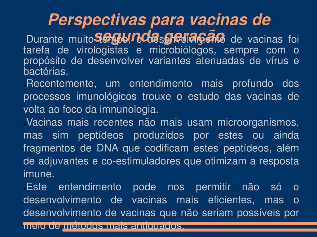 perspectivas para vacinas de segunda gera o l.