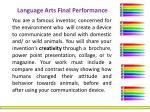 language arts final performance