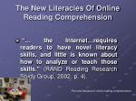 the new literacies of online reading comprehension