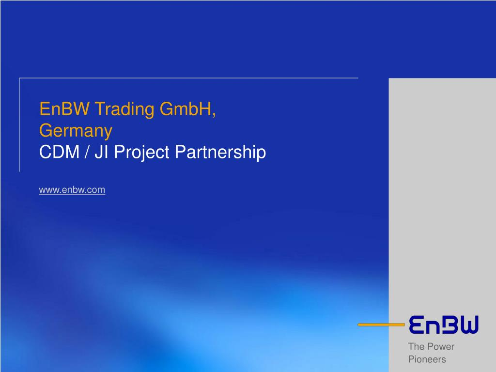 enbw trading gmbh germany cdm ji project partnership www enbw com l.