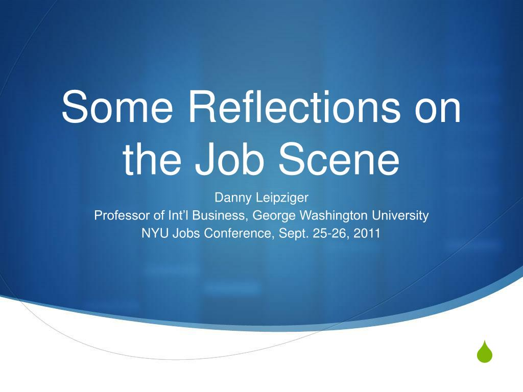 some reflections on the job scene l.