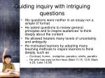 guiding inquiry with intriguing questions