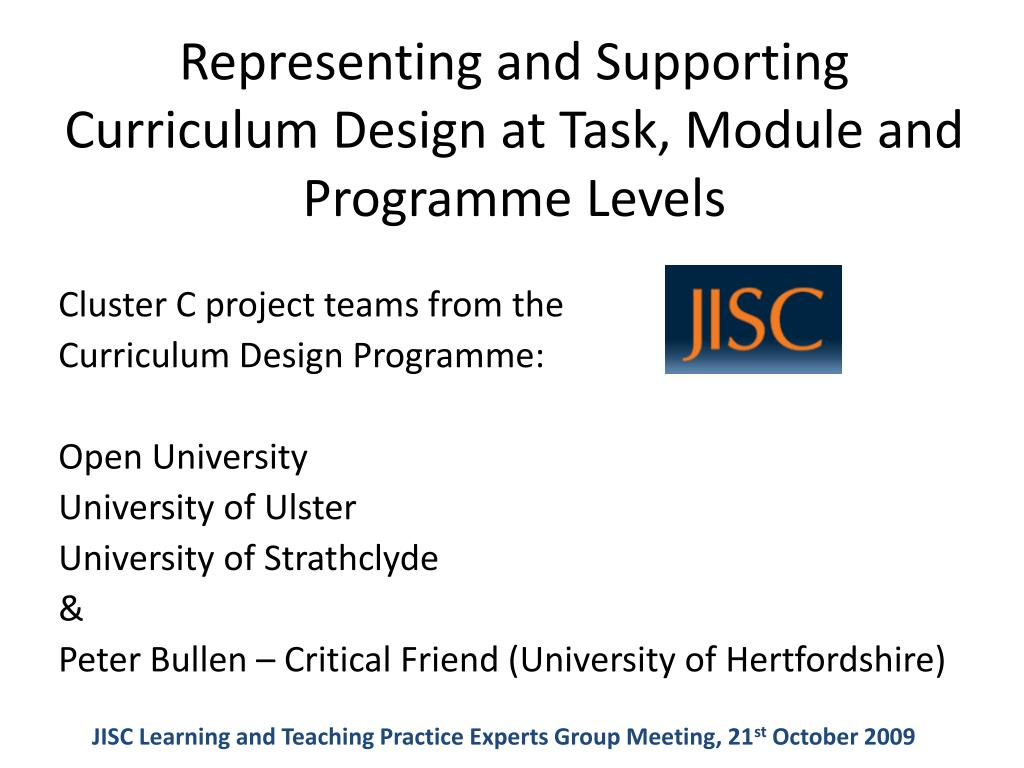 representing and supporting curriculum design at task module and programme levels l.
