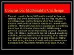 conclusion mcdonald s challenge
