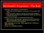 mcdonald s responses the bad