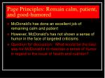 page principles remain calm patient and good humored