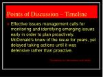 points of discussion timeline