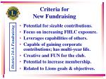 criteria for new fundraising