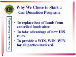 why we chose to start a car donation program