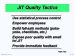 jit quality tactics