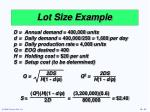 lot size example