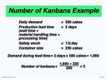 number of kanbans example