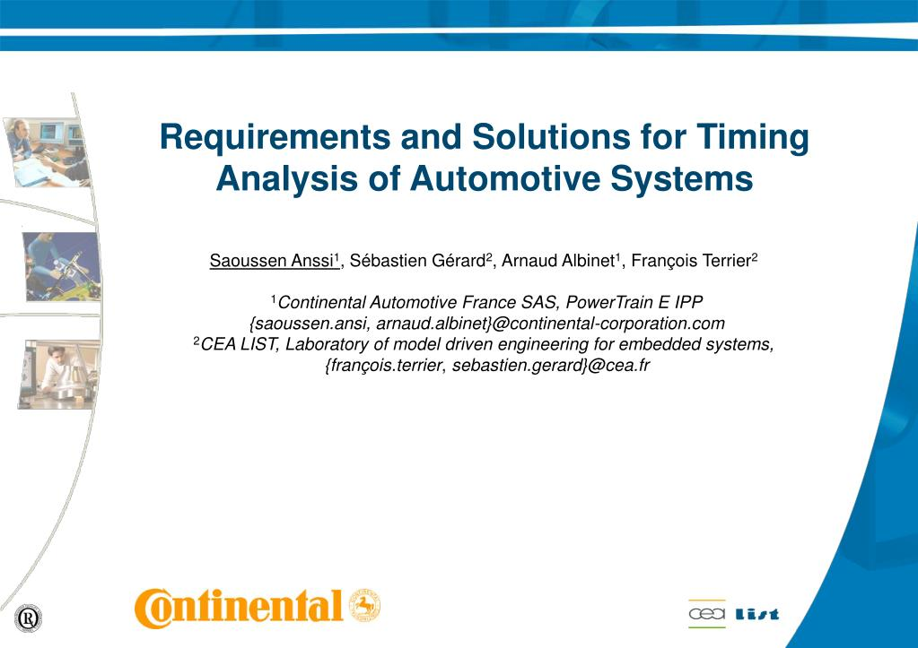 requirements and solutions for timing analysis of automotive systems l.