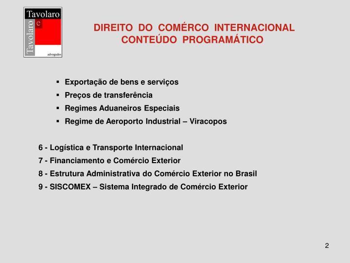 Direito do com rco internacional conte do program tico