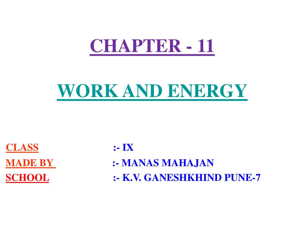 chapter 11 work and energy l.