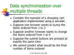 data synchronization over multiple threads