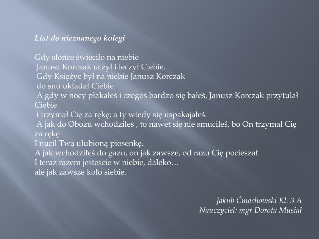 Ppt Janusz Korczak W Oczach Dziecka Powerpoint