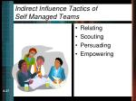 indirect influence tactics of self managed teams