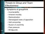threats to group and team effectiveness33